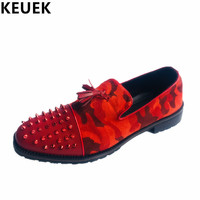 Rivet Pointed Toe Male Personality Tassel Shoes Split Leather Breathable Casual Slip On Flats Fashion Youth