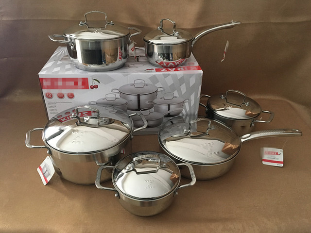 12pcs Cooking Pots and Pans Casseroles Luxury Frypan Saucepan Inox Set Full Inox Cover 6 Cooking