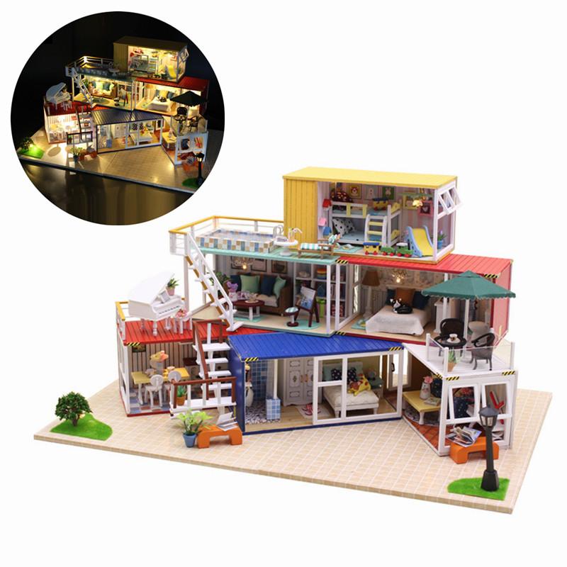 Hoomeda 13843Z 3D Wooden Puzzle DIY Handmade Container Home With Music Cover Light DIY Dollhouse Kit 3D Japanese Style