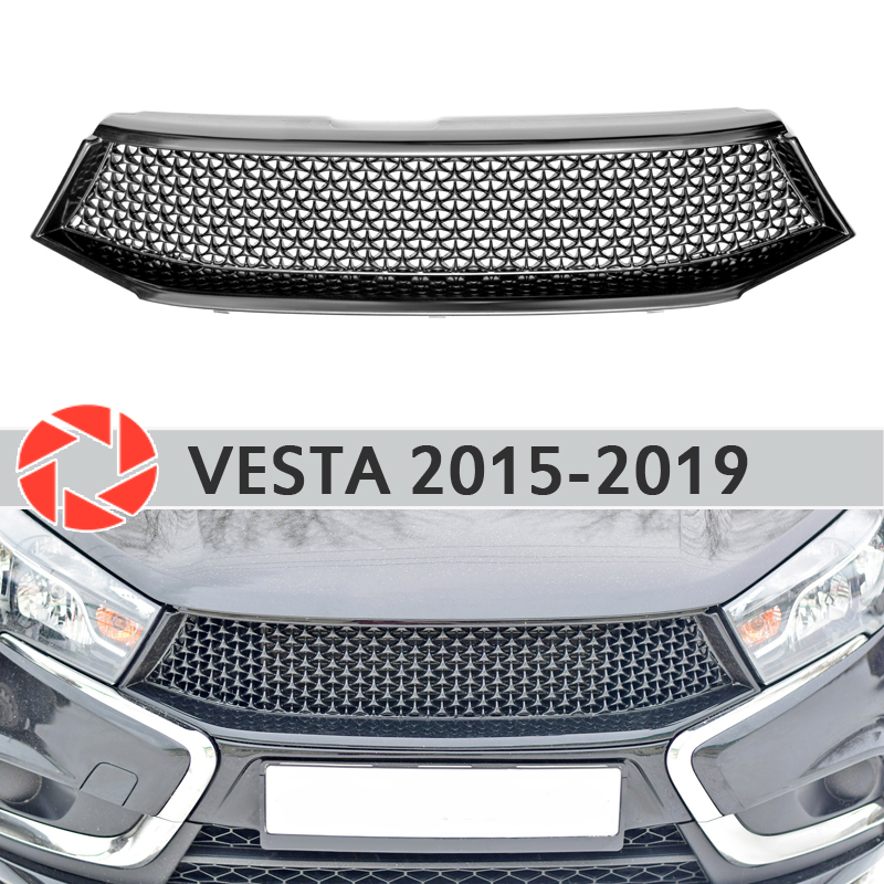 Radiator Grille for Lada Vesta 2015-2019 plastic ABS accessories protection car styling front decoration tuning radiator grille case for honda civic 4d 2006 2008 2010 abs plastic tuning decor design sports styles car styling car accessories