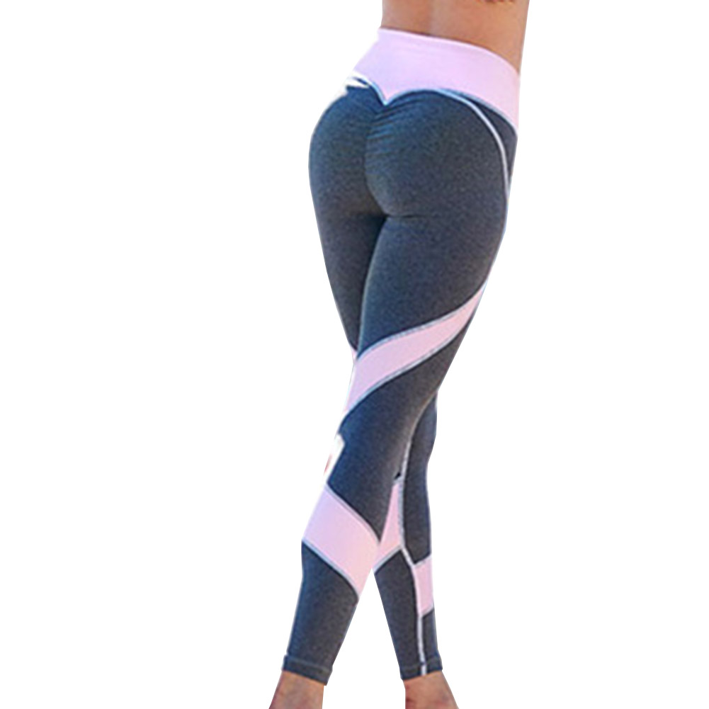 Pink Stitching Yoga Pants Sports Leggings Exercise Tights Fitness Running Jogging Trousers Gym Slim Compression Pants