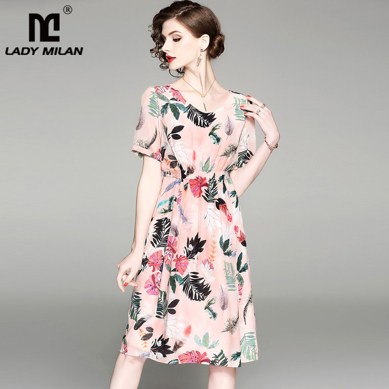 100% Silk Womens O Neck Sleeveless Floral Printed Short Dresses Fashion Casual Summer Runway Dresses