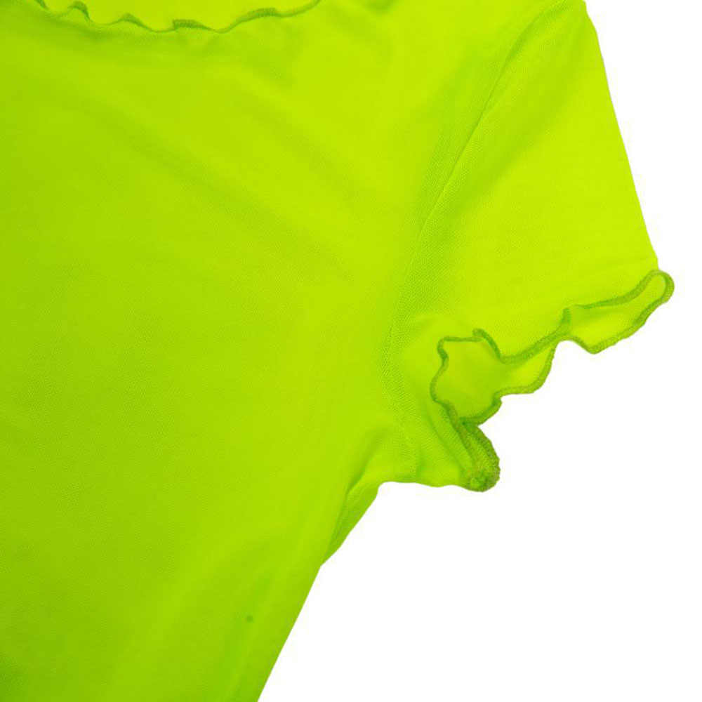 Sexy koszulki z krótkim rękawem dla kobiet kolor fluorescencyjny street hipster mesh gaza perspektywy koszulka z krótkimi rękawami i okrągłym dekoltem koszulka damska