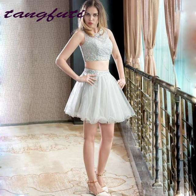 Cheap Short Prom Dresses Two Pieces Dress Beading Crystals Tulle 8th