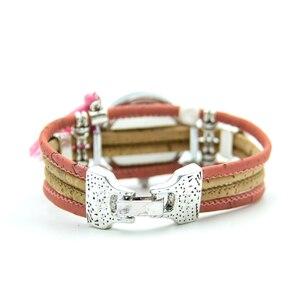 Image 4 - Natural cork handmade Bee watch with pink tassel original from Portugal women cork watch WA 102 B