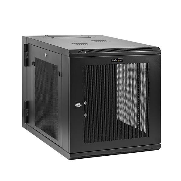 StarTech.com 12U Wall Mount Server Rack Cabinet 32 in. Deep Hinged, 90 kg, Wall mounted rack, 12U, Steel, Steel, Black