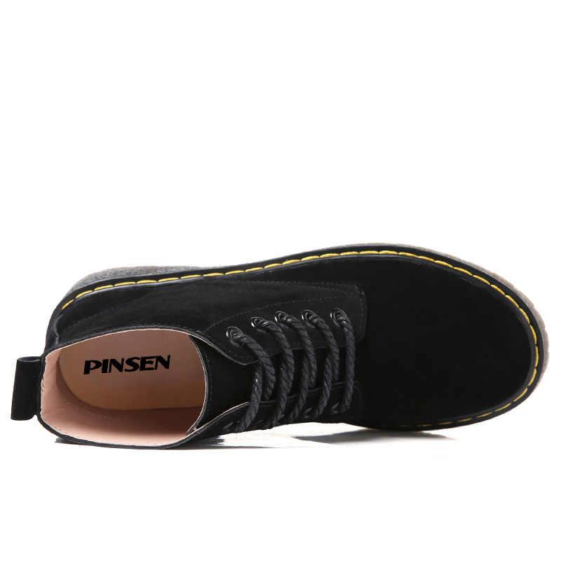 PINSEN 2020 hakiki deri süet yarım çizmeler kadın kış klasik moda botları motosiklet siyah ayak bileği bağcıklı ayakkabı kadınlar için