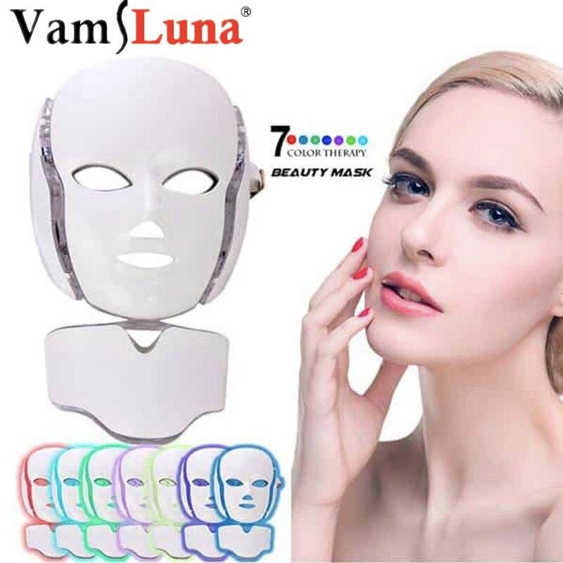 7 couleur Photon LED Visage Cou Masque Pour Rajeunissement de La Peau, L'acné, Pores, anti-Vieillissement Beauté Thérapie Par La Lumière Lumière Pour un Usage Domestique