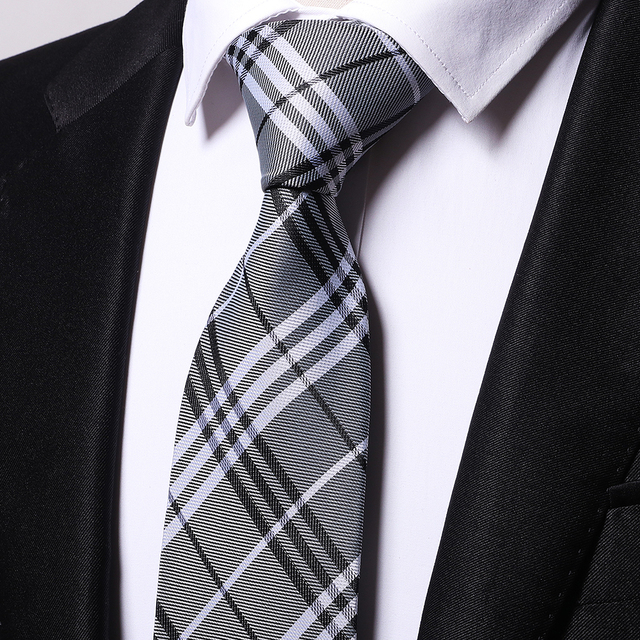 1120f24ba5d54 GOBETTIES mens Fashion Silk Jacquard Woven Mens gray cross striped Tie  Classic Neck Ties For Wedding groom birthday gift B0016