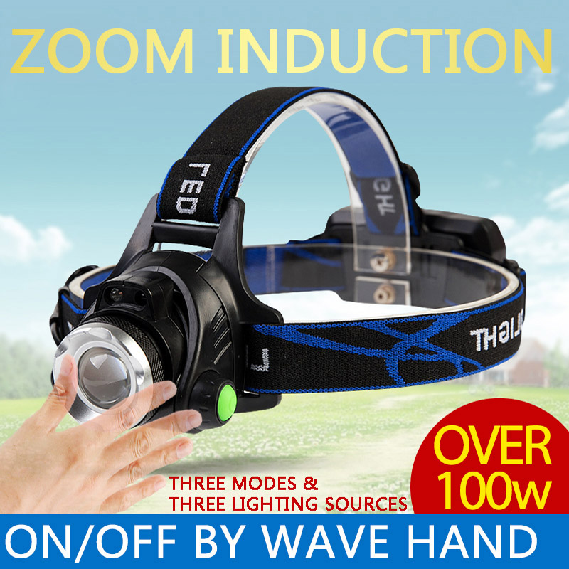 QINLE Zoom Induction LED Headlamp Rechargeable Headlight Senor Fishing Light Torch Flashlight For Hunt Headband Headlamps 18650