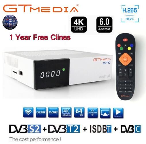 все цены на FREESAT GTC DVB-S2 DVB-C DVB-T2 ISDB-T android 6.0 TV BOX S905D 2G/16GB BT4.0 Satelliet receiver with 1 year cccam Cline as gift онлайн