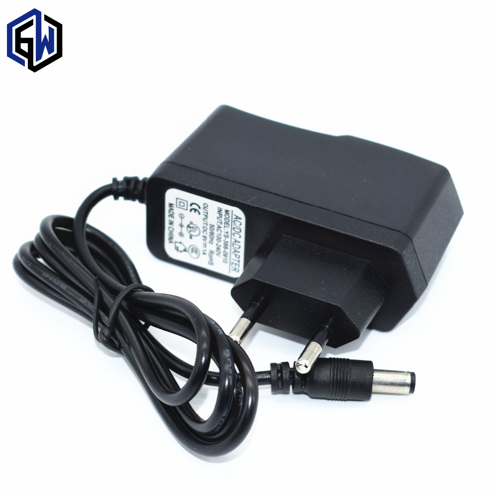 1pcs AC 100V-240V Converter Adapter DC 9V 1A Power Supply EU Plug DC 5.5mm x 2.1mm 1000mA for UNO MEGA