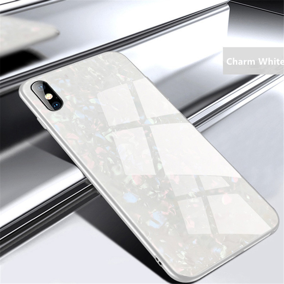 Luxury Tempered Glass Geometric Case For iPhone X 7 8 Plus Soft TPU Frame Art Print Patterned  ProtectiveCover For iPhoneX 10 (10)