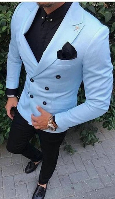 Latest Coat Pant Designs Casual Gentleman Double Breasted Men Suits Sky Blue Jacket Beach Wedding Suits Mens Groom Tuxedos