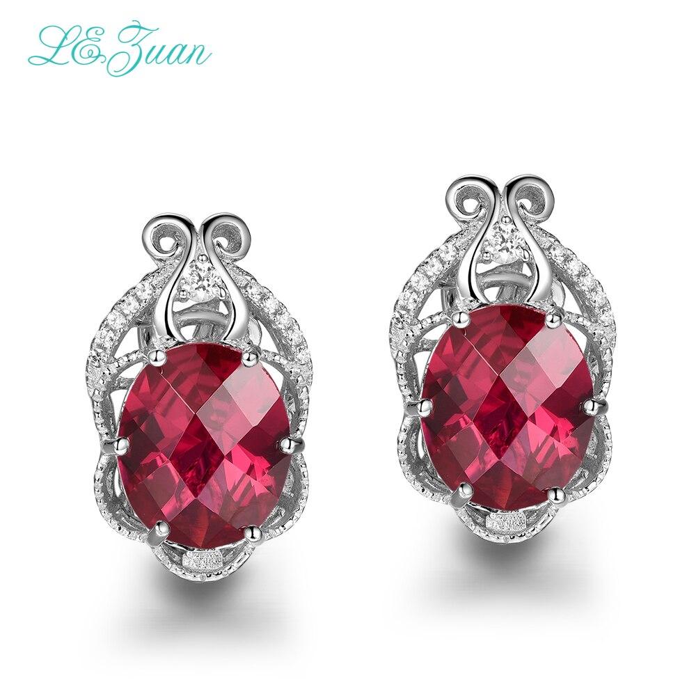 L & zuan 12.21ct rubis gemmes damier coupe boucles d'oreilles pour femmes 925 Sterling S ilver luxe boucle d'oreille bijoux fins E0074-W01