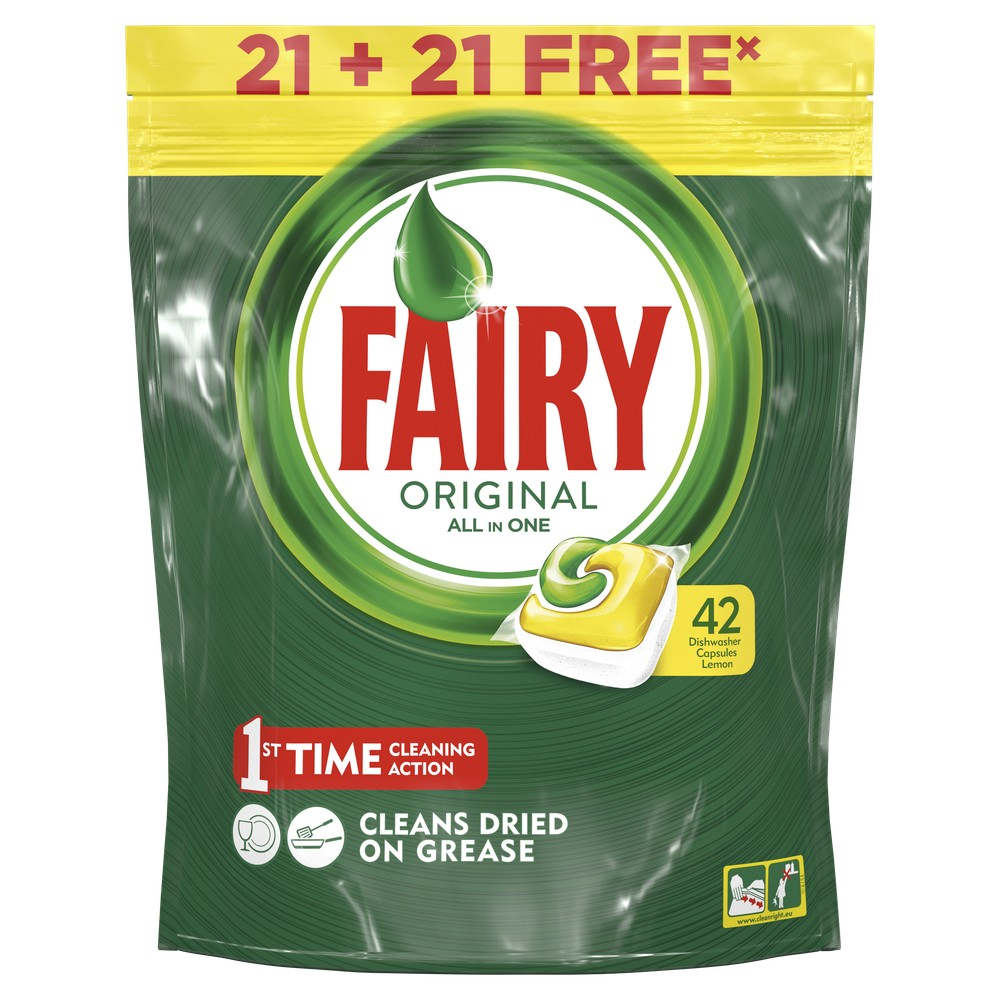 Lemon Dishwasher Tablets Fairy All In One Lemon (Pack of 42) Tableware Washing Dishes Detergents for Dishwashers