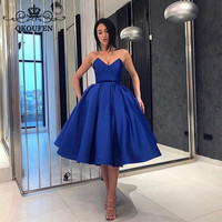 Short Bridesmaid Dresses For Women 2018 Puffy A Line Royal Blue Stretchy Satin High Waist Prom Dress Maid Of Honor Gown