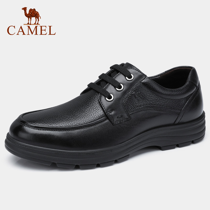 CAMEL Autumn Winter Men Business Shoes with Warm Fur Men s Casual Soft Genuine Leather Shoes