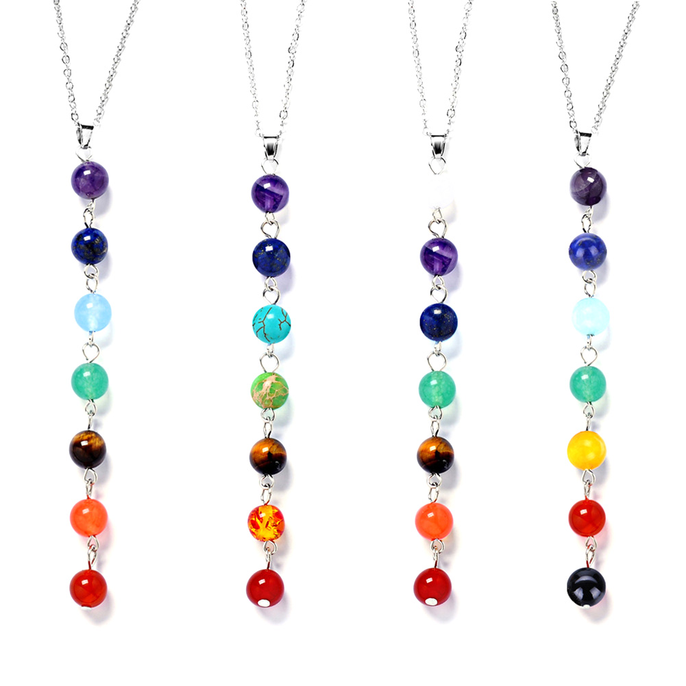 Fashion Elegant Female Seven Beads Natural Purple Crystal Pendant Necklace Colorful Bead Choker For Women Gift Wholesale