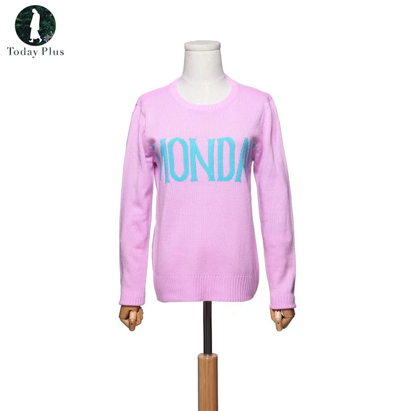 2018 Fashion Week Women Sweater Chic Knitting Jumper Monday Tuesday Wednesday Thursday F ...