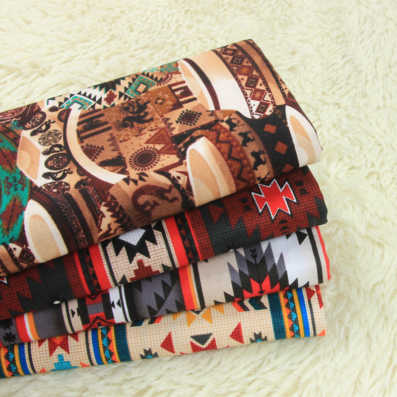 Простая хлопчатобумажная ткань с ретро принтом, ручная работа, сумка, одежда, платье, A953