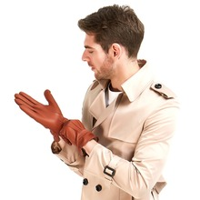 Free Shipping Harssidanzar Mens Luxury Italian Lambskin Leather Gloves Vintage Finished Wool Lined