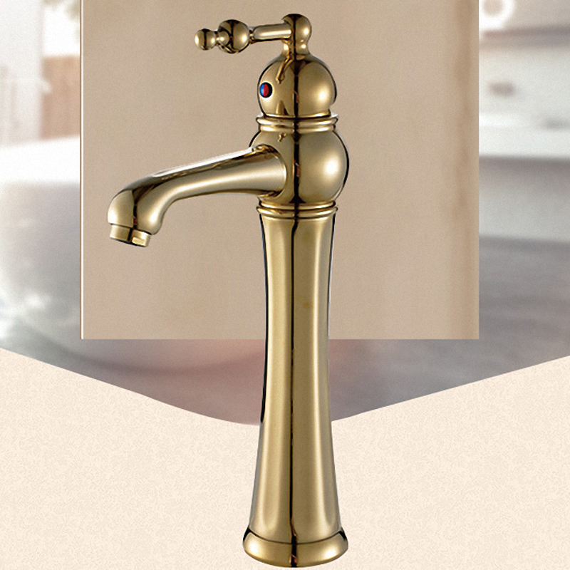 Elegant Vessel Sink Faucet, One Handle Lever, Hot / Cold Water, Solid Brass, Multi Colors, ORB , 2027 - 4