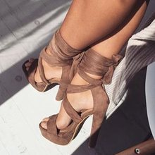 Sexy Brown Sandals Suede Lace-Up Shoes Women Gladiator Square High Heels Peep Toe 2019 Summer New