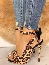 Women Leopard Sandals Gladiator Women Peep Toe Thin High Heels Sandals Back Butterfly-knot Decor Lady Dress Party Shoes