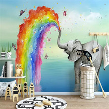 Simple cute elephant watercolor childrens house high-grade wall cloth manufacturers wholesale wallpaper mural photo