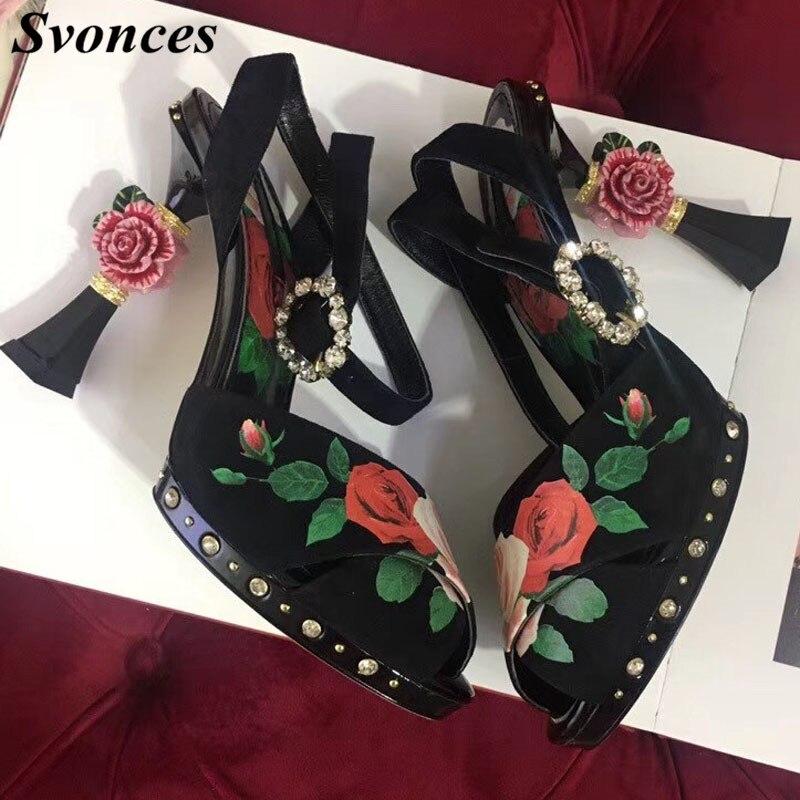 Sandalias de Mujer de lujo 2019 3D flor tacón plataforma Sandalias flatbacks Stiletto tacones altos Floral negro zapatos de Mujer de fiesta Size42-in Sandalias de mujer from zapatos    1