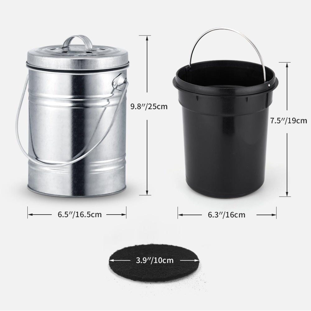 3L Kitchen Compost Bin with Charcoal Filter