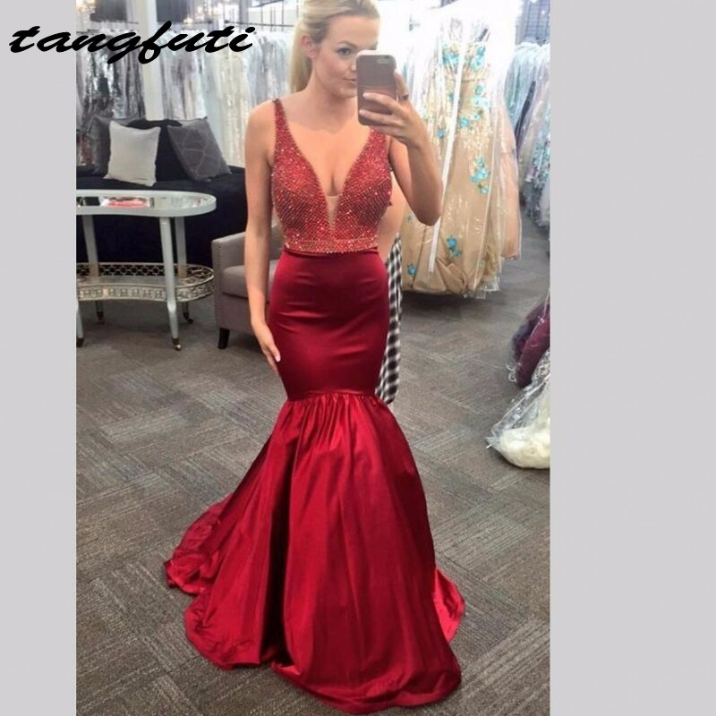 Red Mermaid Evening Dresses Long With Beading Sequins V Neck Formal Evening Gowns Party Dress Evening Party vestido de festa