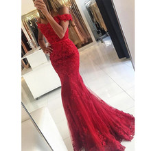 Angel Married evening dresses red mermaid lace cap sleeve womens pageant gown formal prom party dress vestidos de fiesta 2019(China)