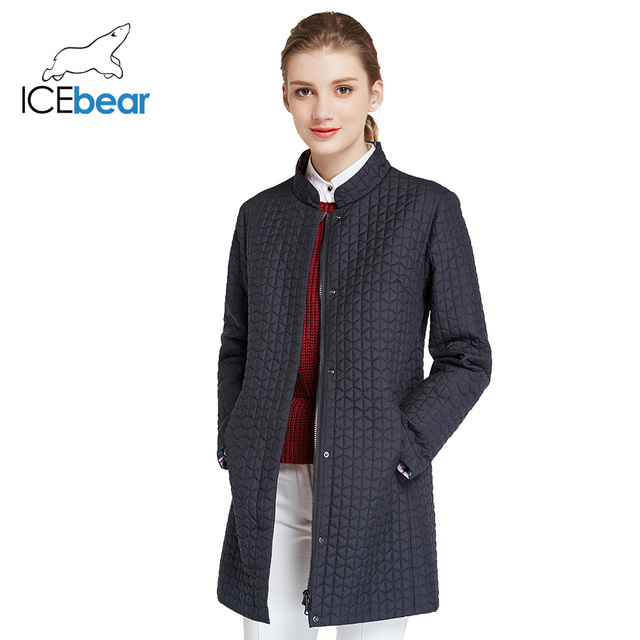 ICEbear 2017 ICEbear 2017 Лёгкая качественная демисезонная куртка с клетчатой стёганой тканью для повседневной носки тонкая модная парка с круглым воротником 17G270D