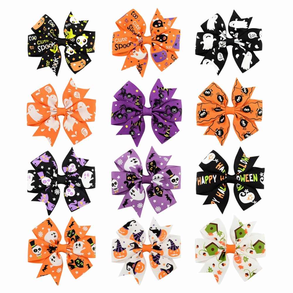 1Pcs 12 Color Girl child Halloween decoration Grosgrain Ribbon Bows Ghost Pumpkin Pinwheel Hair Clips Hair Pin Accessories 638