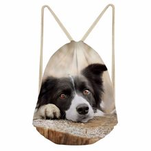 Casual Women Men Drawstring Bags 3D Dog Border Collie Print Girls Boy Soft Storage Backpacks School Student Bookbag punch pocket(China)