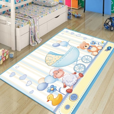 Else Blue Yellow Cradle Baby Bears Lamps 3d Print Non Slip Microfiber Children Kids Room Decorative Area Rug Kids Game Mat