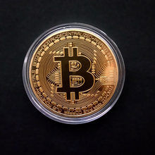 Gold Plated Bitcoin Coin Collectible Gift Casascius Bit Coin BTC Coin Art Collection Physical gold commemorative coins(China)