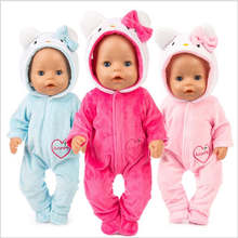 Fit 18 inch 40-43cm Born New Baby Doll Clothes Unicorn Pink Red Blue Cat Doll Clothes accessories For Baby Gift born new baby fit 18 inch 43cm clothes for doll blue pink red star with hairhand clothes accessories for baby birthday gift