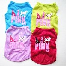 Одежда для собак Summer 2018 Cotton Print Одежда для собак Летняя рубашка Hond для собак Домашние животные Cute Breathable Teddy Dog Vest XS-L Funny E