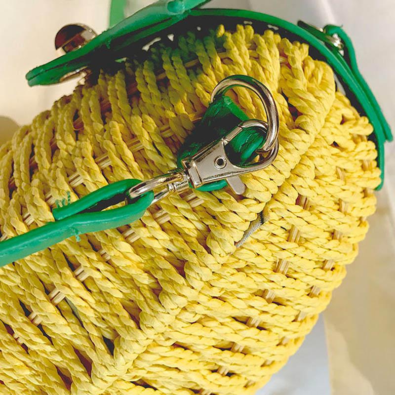 Women Pineapple Handbag Female Messenger Bags Straw Beach Crossbody Bag Lady Fashion Rattan Clutches Tote Knitted SS3010 (8)