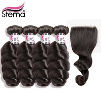 Stema Loose Wave Brazilian 4 Human Hair Bundles With Closure 4*4 Deal Human Remy Hair Weave Bundles with Closure Free Shipping