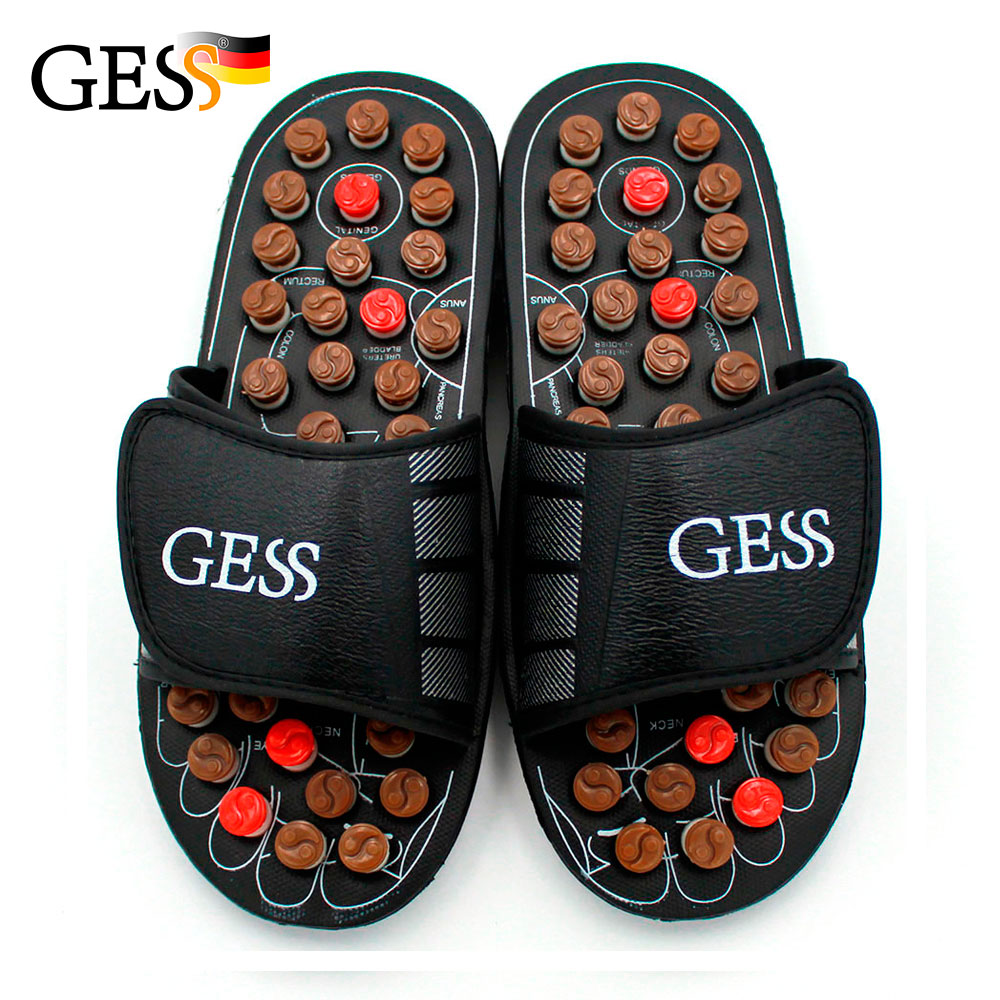 Acupuncture Reflex Foot massage slippers point massage shoes health slippers Men's and women's Relaxation size L Gess Gessmarket esveva 2018 women sandals slingback square high heels sandals pumps cow leather pu slippers slip on shoes women size 34 42