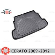Багажник коврик для Kia Cerato 2009 ~ 2012 багажник пол коврики Нескользящие полиуретановые грязезащитные багажник стайлинга автомобилей