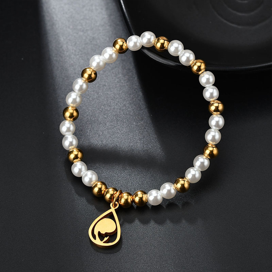HOBBORN Classic Simulated pearl Beaded Bracelets Women Stainless Steel Beads Virgin Mary Charm Bracelet Christian Jewelry Gifts in Charm Bracelets from Jewelry Accessories