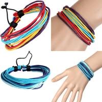 Fashion Men Women Multilayer Wax Rope Bracelet Ethnic Style Handmade Bangle Gift