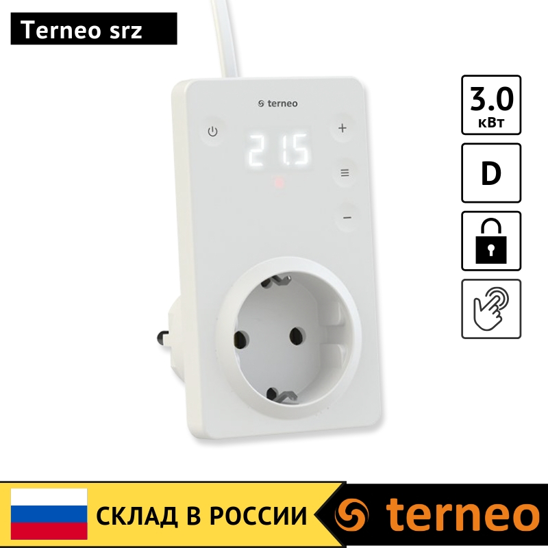 Terneo Srz - Electrical Thermostat In The Socket Plug With Air Sensor And Touch Screen With Digital Control For Infrared Heaters