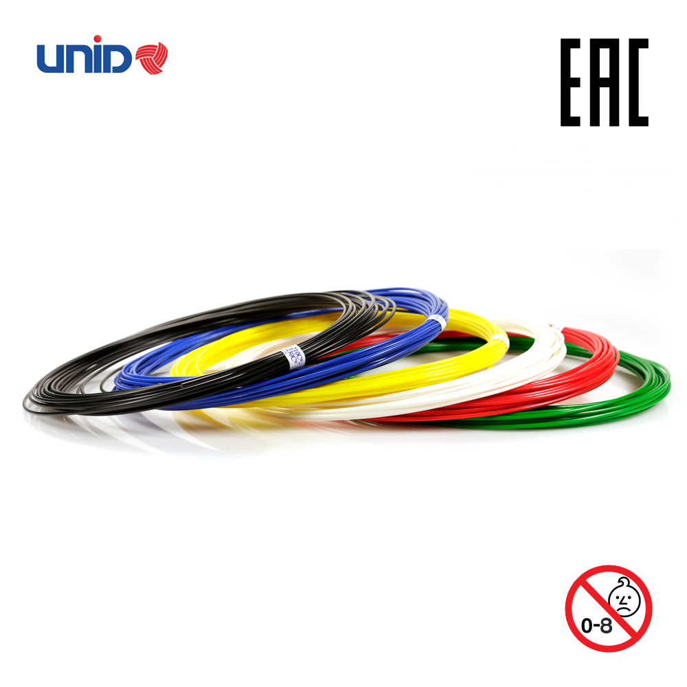 3D Pen Fillament UNID ABS 6 Multicolor Set KID PLA PRO 3D Printing Print birthday present Creativity Smart doodle drawing creopop ink for 3d printer pen plastic pla abs filament set petg rods moscow cheap russia delivery classic black blue green