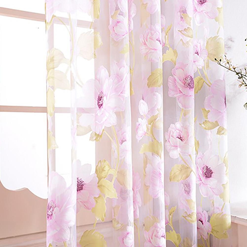 Мода цветок камелии окна Шторы Sheer делитель Панель дома Украшения в спальню